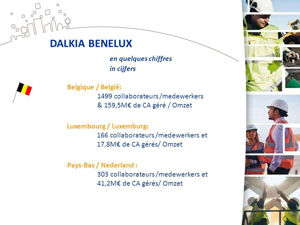 DALKIA BENELUX en quelques chiffres in cijfers Pays-Bas / Nederland : 303 collaborateurs /medewerkers et 41,2M€ de CA gérés/ Omzet Luxembourg / Luxemb