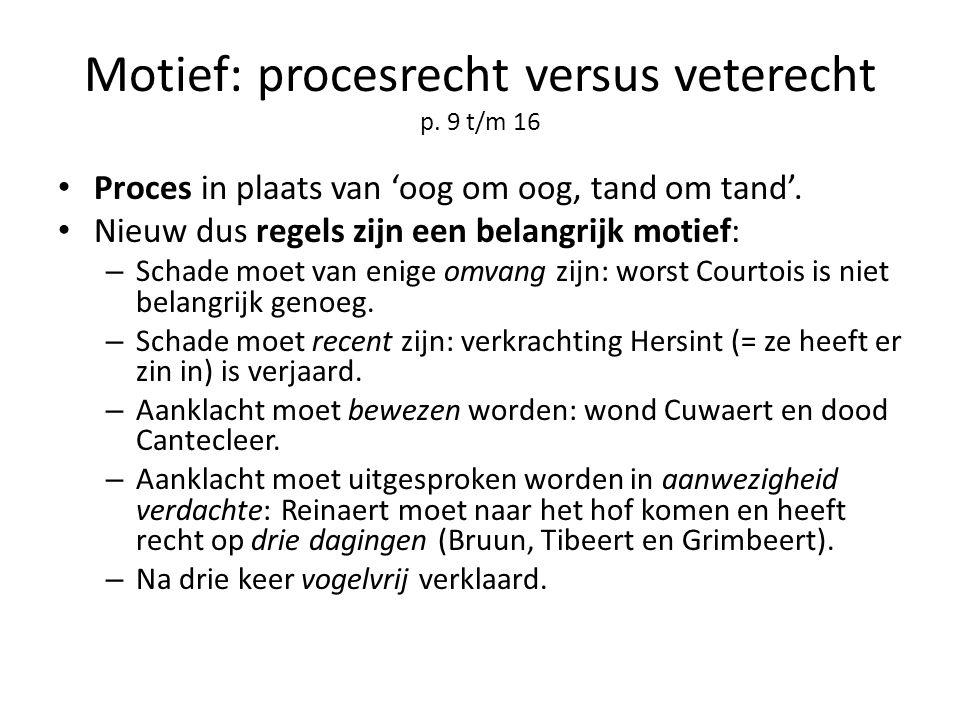 Motief: procesrecht versus veterecht p. 9 t/m 16 Proces in plaats van 'oog om oog, tand om tand'. Nieuw dus regels zijn een belangrijk motief: – Schad