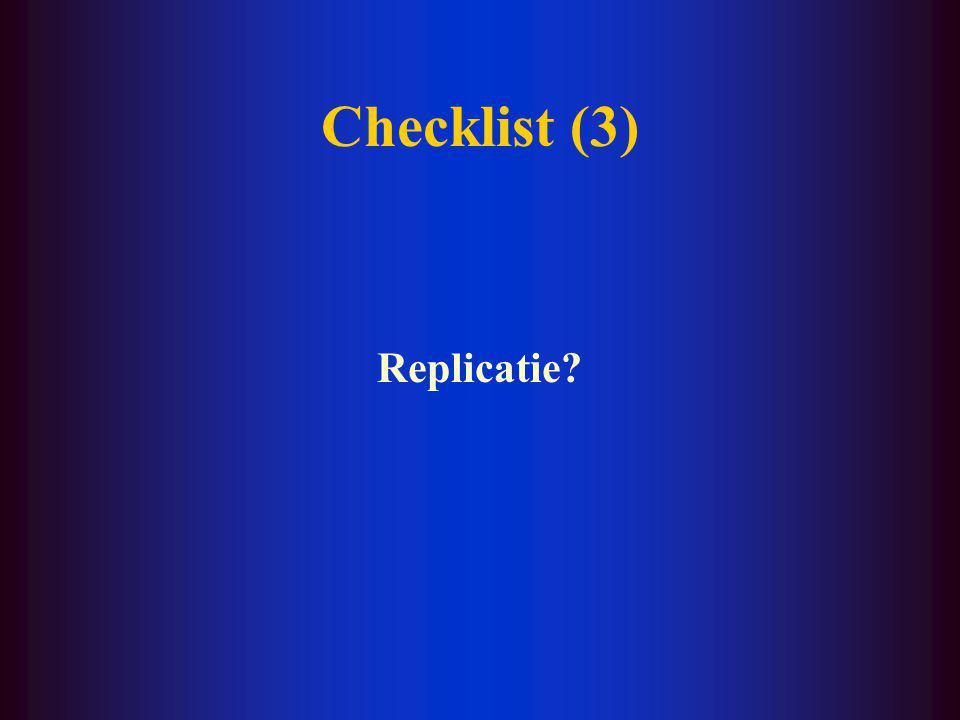 Checklist (2) Onderzoeker –Doctorandus –K.U.L. –samengewerkt met Financier –F.W.O.