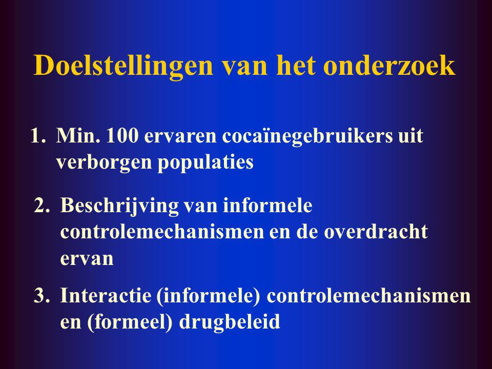 SETTING Informele controlemechanismen: - waarden - gedragsregels - sancties Verkrijgbaarheid Levensstructuur gebruiker Drugbeleid Andere factoren