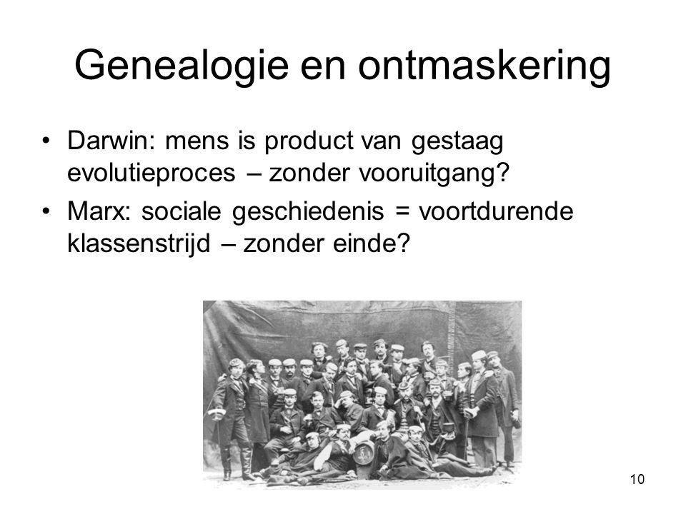 10 Genealogie en ontmaskering Darwin: mens is product van gestaag evolutieproces – zonder vooruitgang.