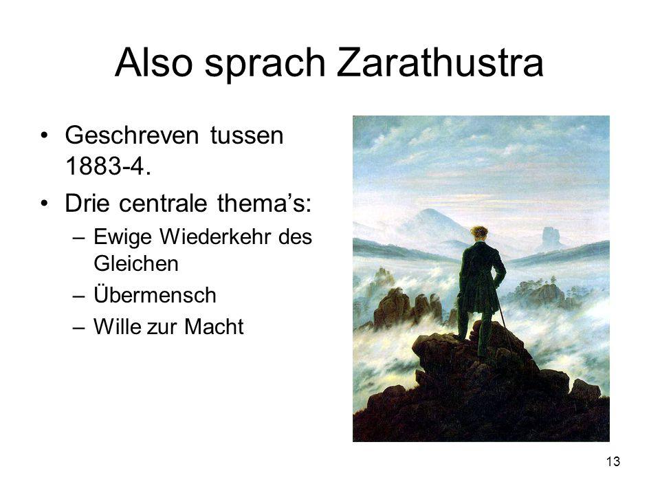 13 Also sprach Zarathustra Geschreven tussen 1883-4.