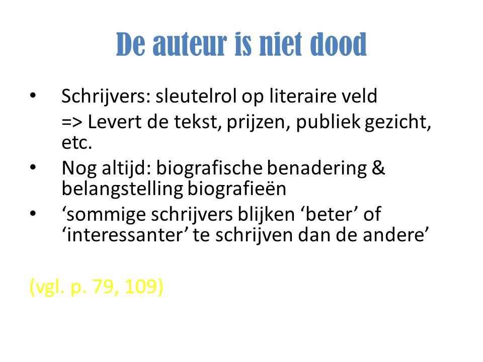De auteur is niet dood Schrijvers: sleutelrol op literaire veld => Levert de tekst, prijzen, publiek gezicht, etc. Nog altijd: biografische benadering