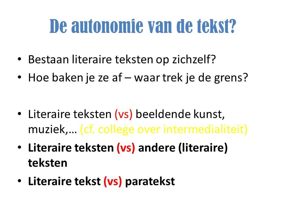 De autonomie van de tekst? Bestaan literaire teksten op zichzelf? Hoe baken je ze af – waar trek je de grens? Literaire teksten (vs) beeldende kunst,