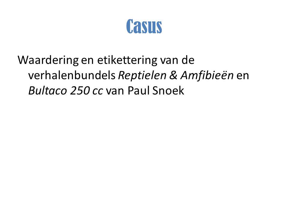 Casus Waardering en etikettering van de verhalenbundels Reptielen & Amfibieën en Bultaco 250 cc van Paul Snoek