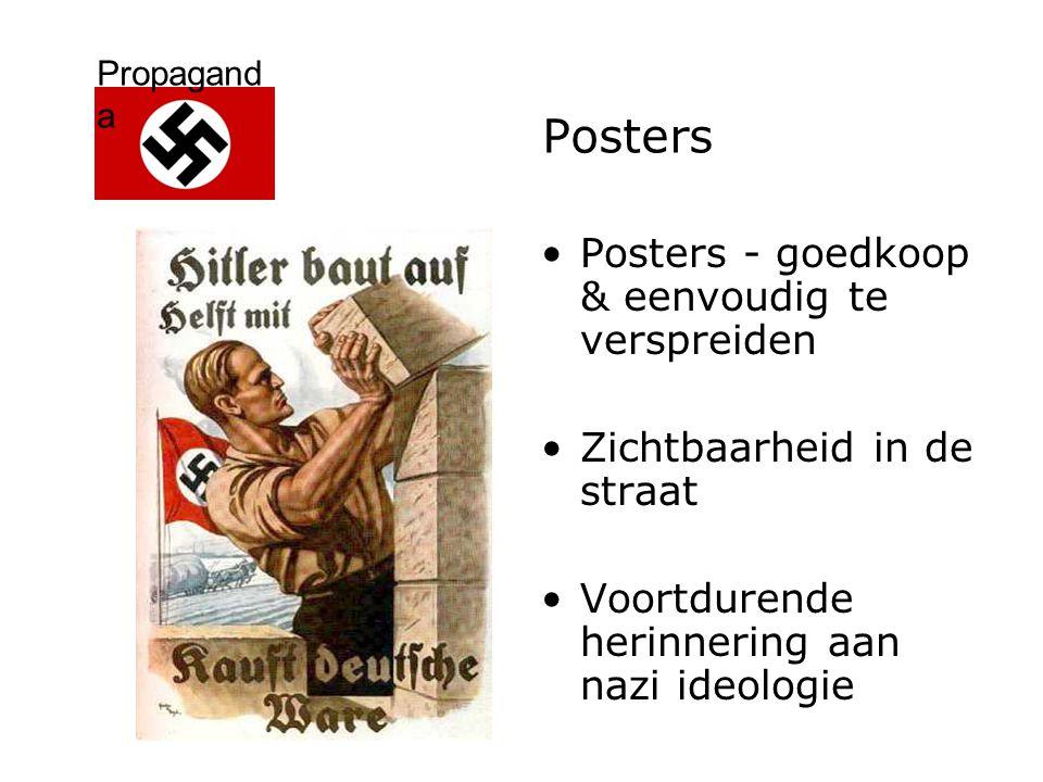 Propagand a Posters Posters - goedkoop & eenvoudig te verspreiden Zichtbaarheid in de straat Voortdurende herinnering aan nazi ideologie