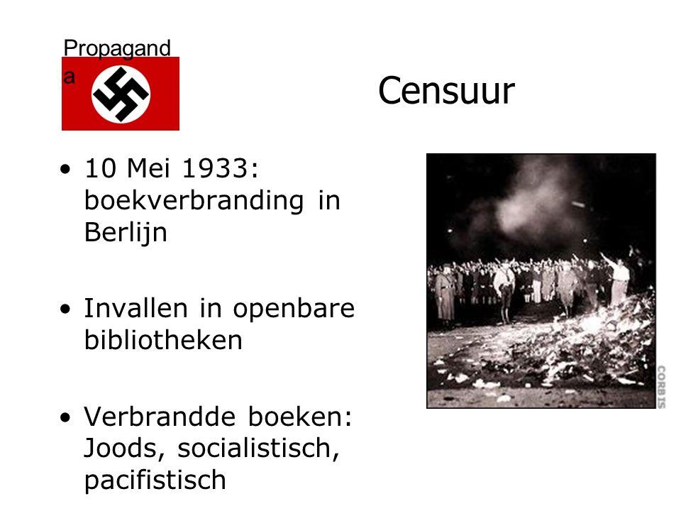 Propagand a Censuur 10 Mei 1933: boekverbranding in Berlijn Invallen in openbare bibliotheken Verbrandde boeken: Joods, socialistisch, pacifistisch