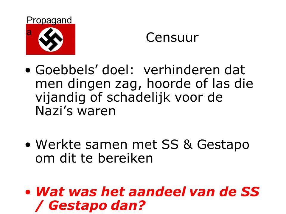 Propagand a Censuur Goebbels' doel: verhinderen dat men dingen zag, hoorde of las die vijandig of schadelijk voor de Nazi's waren Werkte samen met SS