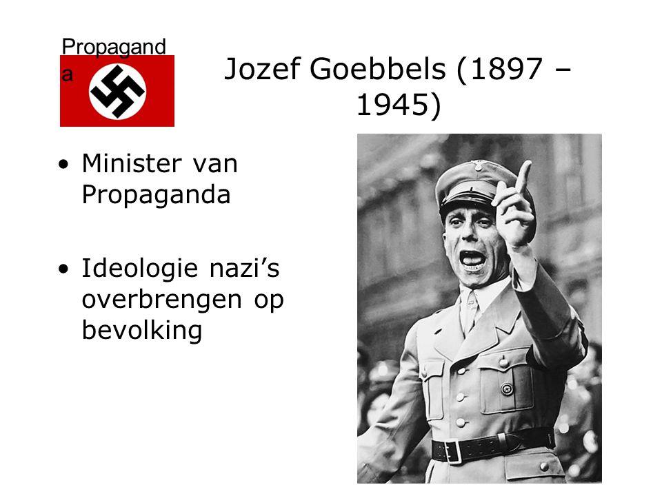 Propagand a Jozef Goebbels (1897 – 1945) Mank (Voet) Kerkrade (jongenspensionaat Blijerheide) Universiteit Heidelberg Twee boeken en toneelstukken: afgewezen (Joodse uitgever)