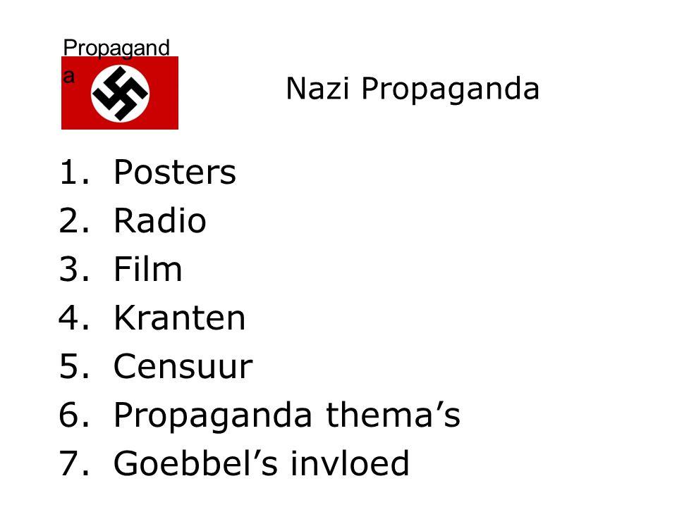 Propagand a Propaganda thema's: 1.Anti-Semitisme (anti-Joods) 2.Militarisme (uniformen; leger) 3.Nationalisme (trots op Duitsland) 4.Superioriteit Arische ras 5.Fuhrer-mythe (Hitler middelpunt natie; goddelijk-figuur) 6.Traditionele Duitse'Volkscultuur''