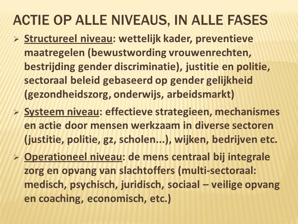 ACTIE OP ALLE NIVEAUS, IN ALLE FASES  Structureel niveau: wettelijk kader, preventieve maatregelen (bewustwording vrouwenrechten, bestrijding gender