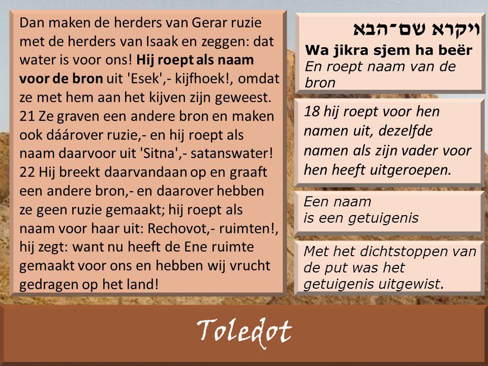 Dan maken de herders van Gerar ruzie met de herders van Isaak en zeggen: dat water is voor ons.