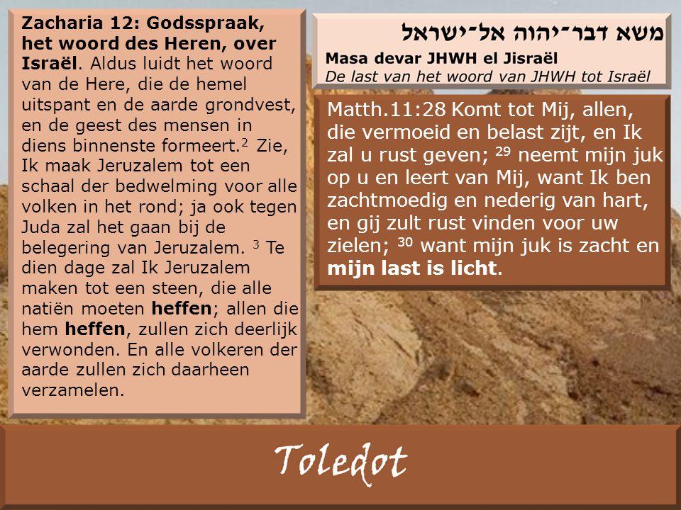 Zacharia 12: Godsspraak, het woord des Heren, over Israël.