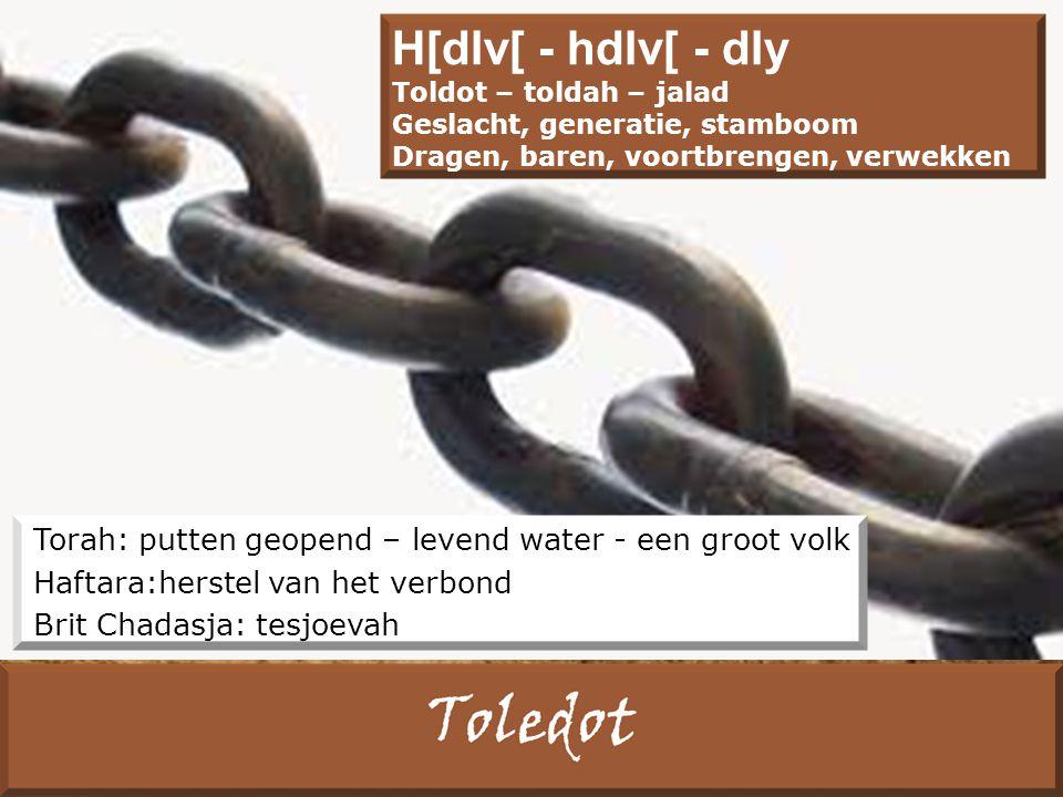 Torah: putten geopend – levend water - een groot volk Haftara:herstel van het verbond Brit Chadasja: tesjoevah H[dlv[ - hdlv[ - dly Toldot – toldah – jalad Geslacht, generatie, stamboom Dragen, baren, voortbrengen, verwekken
