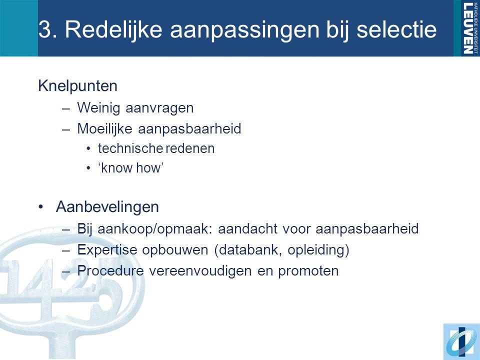3. Redelijke aanpassingen bij selectie Knelpunten –Weinig aanvragen –Moeilijke aanpasbaarheid technische redenen 'know how' Aanbevelingen –Bij aankoop