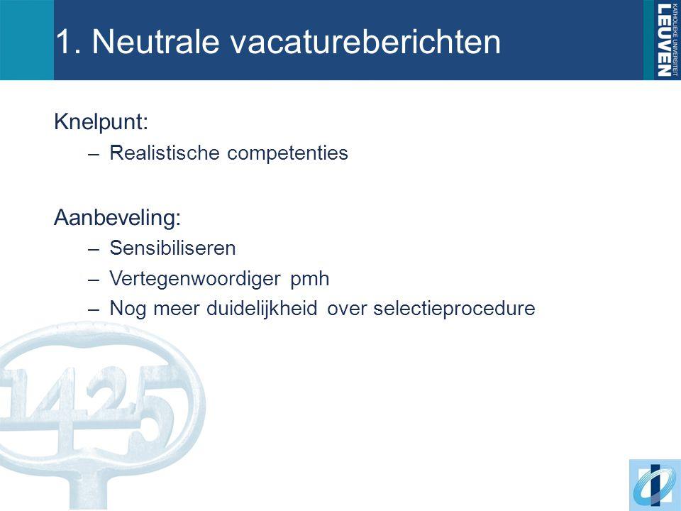 1. Neutrale vacatureberichten Knelpunt: –Realistische competenties Aanbeveling: –Sensibiliseren –Vertegenwoordiger pmh –Nog meer duidelijkheid over se