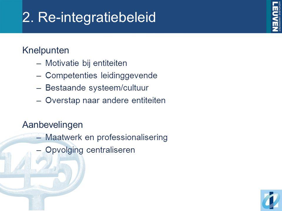 2. Re-integratiebeleid Knelpunten –Motivatie bij entiteiten –Competenties leidinggevende –Bestaande systeem/cultuur –Overstap naar andere entiteiten A