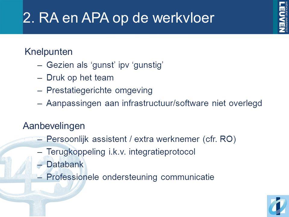 2. RA en APA op de werkvloer Knelpunten –Gezien als 'gunst' ipv 'gunstig' –Druk op het team –Prestatiegerichte omgeving –Aanpassingen aan infrastructu