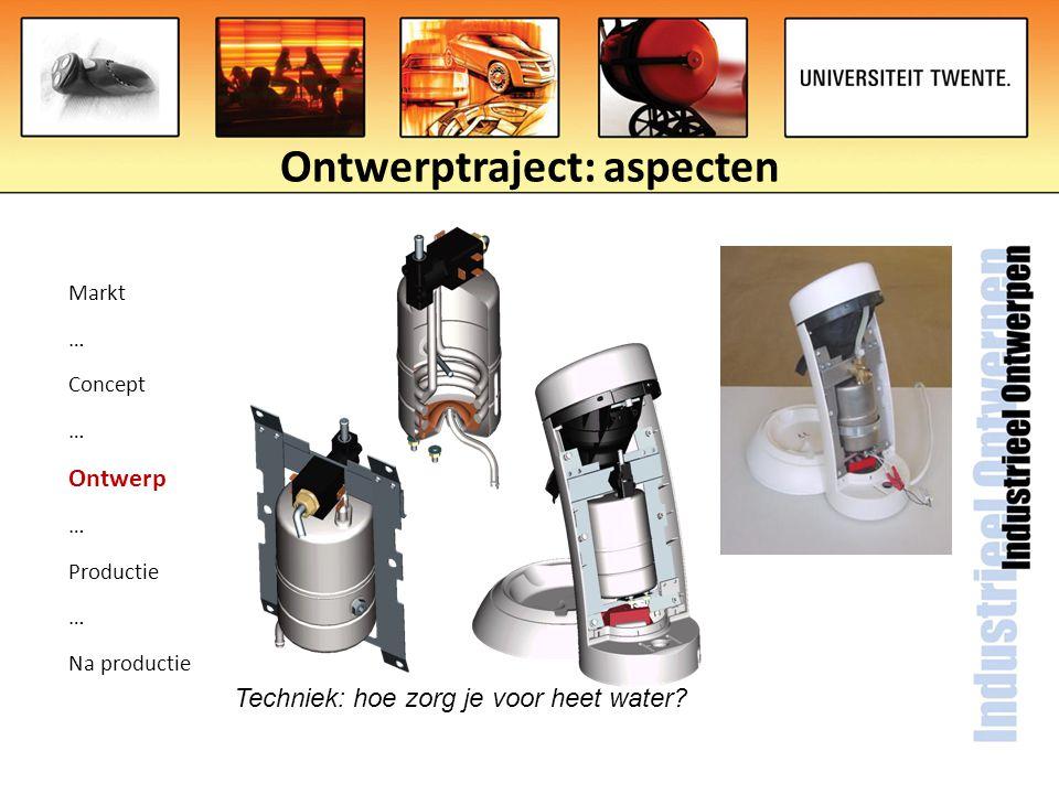 Ontwerptraject: aspecten Markt … Concept … Ontwerp … Productie … Na productie Techniek: hoe zorg je voor heet water?