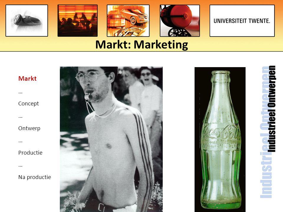Markt: Marketing Markt … Concept … Ontwerp … Productie … Na productie