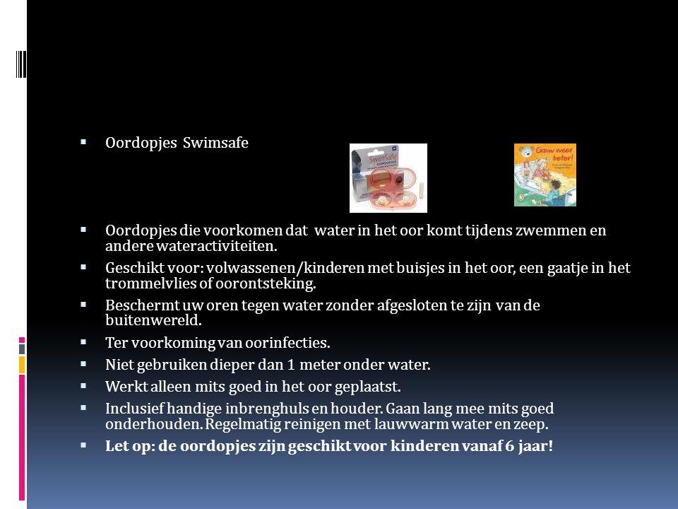  Oordopjes Swimsafe  Oordopjes die voorkomen dat water in het oor komt tijdens zwemmen en andere wateractiviteiten.  Geschikt voor: volwassenen/kin