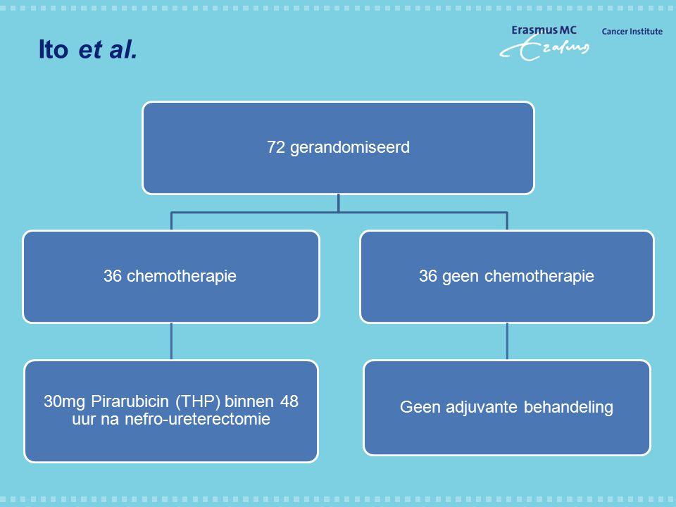Ito et al. 72 gerandomiseerd36 chemotherapie 30mg Pirarubicin (THP) binnen 48 uur na nefro-ureterectomie 36 geen chemotherapie Geen adjuvante behandel