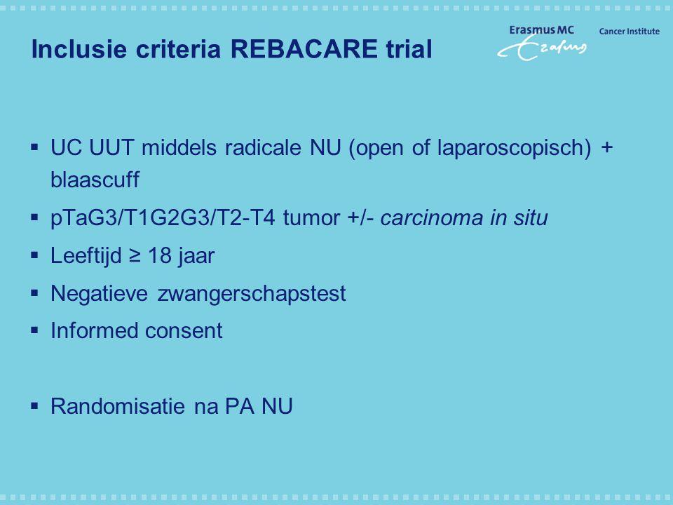 Inclusie criteria REBACARE trial  UC UUT middels radicale NU (open of laparoscopisch) + blaascuff  pTaG3/T1G2G3/T2-T4 tumor +/- carcinoma in situ 