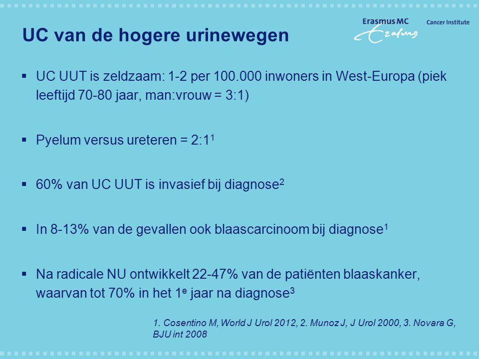 EAU guideline on UC UUT Radicale nefro-ureterectomie + blaascuff is de gouden standaard voor de behandeling van UUC UUT indien goede functie andere nier.
