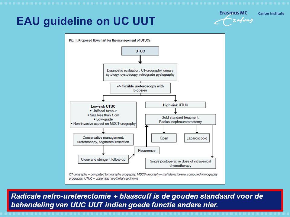 EAU guideline on UC UUT Radicale nefro-ureterectomie + blaascuff is de gouden standaard voor de behandeling van UUC UUT indien goede functie andere ni