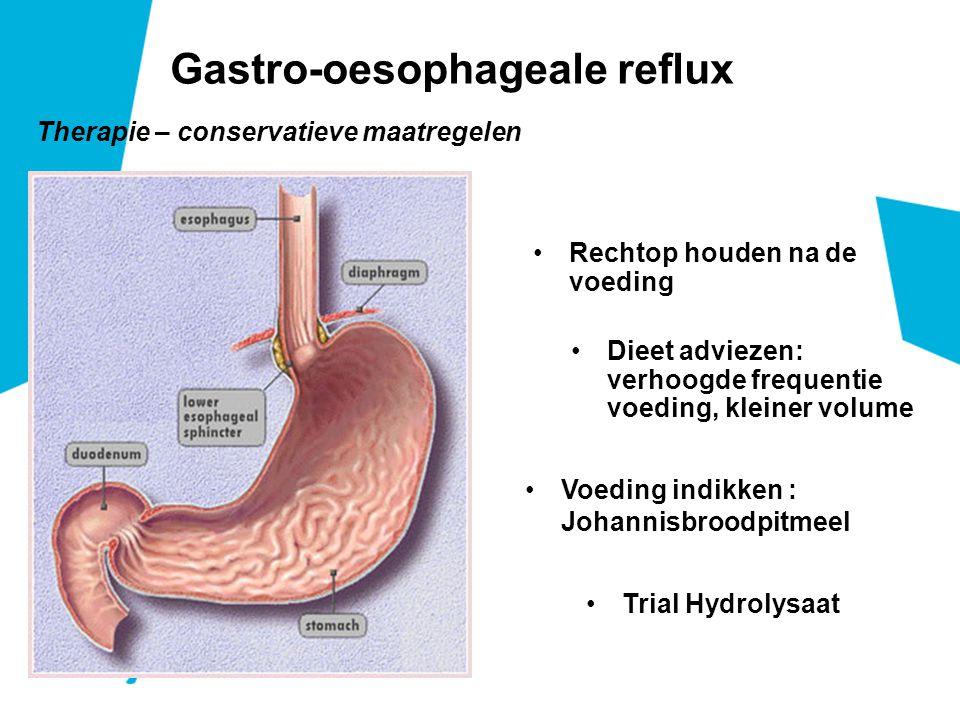 Therapie – conservatieve maatregelen Gastro-oesophageale reflux Rechtop houden na de voeding Dieet adviezen: verhoogde frequentie voeding, kleiner volume Voeding indikken : Johannisbroodpitmeel Trial Hydrolysaat