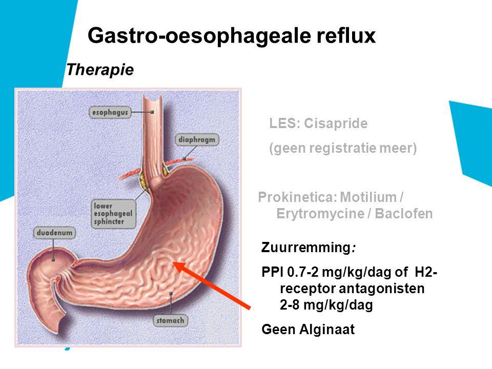 Therapie Gastro-oesophageale reflux Zuurremming: PPI 0.7-2 mg/kg/dag of H2- receptor antagonisten 2-8 mg/kg/dag Geen Alginaat LES: Cisapride (geen reg