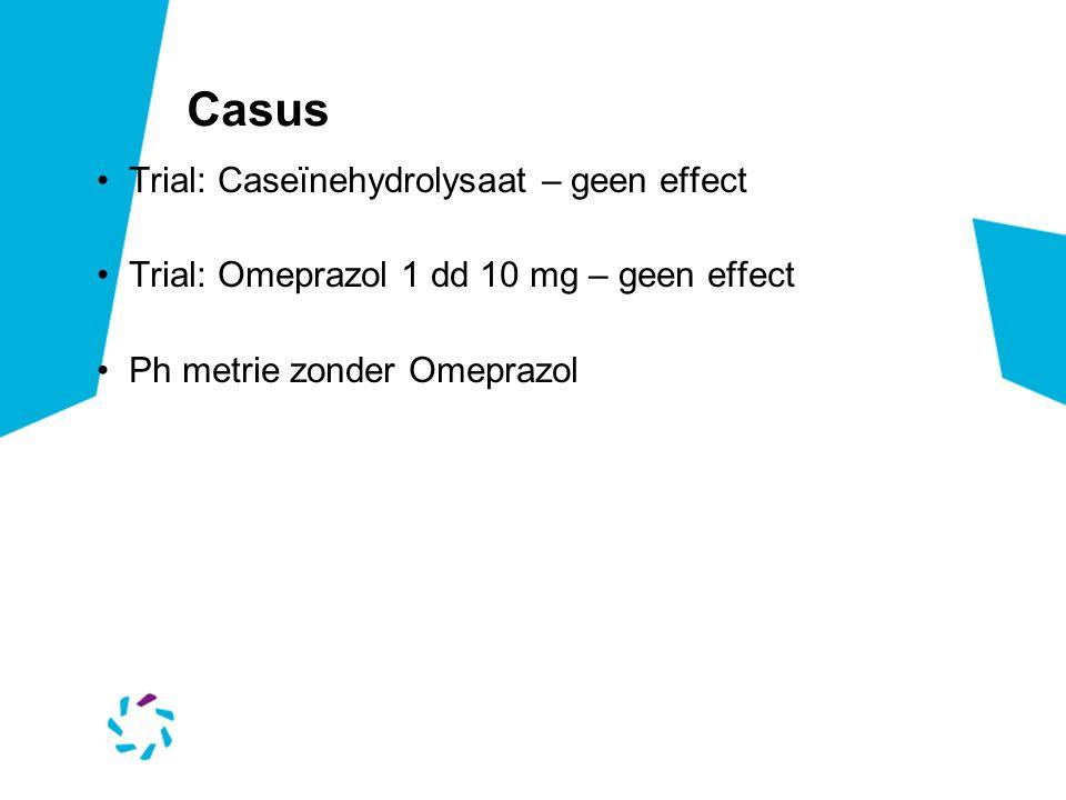 Casus Trial: Caseïnehydrolysaat – geen effect Trial: Omeprazol 1 dd 10 mg – geen effect Ph metrie zonder Omeprazol