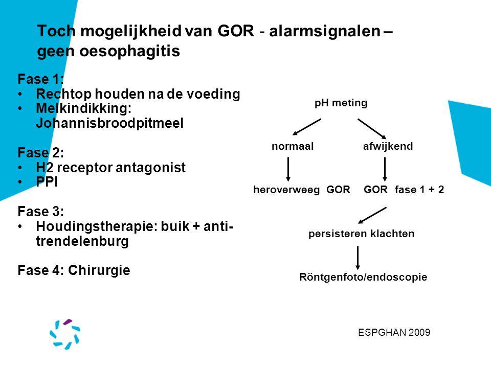 Toch mogelijkheid van GOR - alarmsignalen – geen oesophagitis Fase 1: Rechtop houden na de voeding Melkindikking: Johannisbroodpitmeel Fase 2: H2 rece