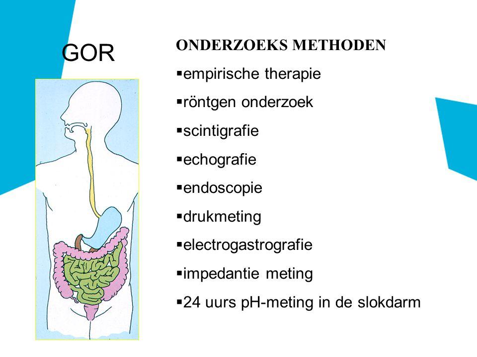 ONDERZOEKS METHODEN  empirische therapie  röntgen onderzoek  scintigrafie  echografie  endoscopie  drukmeting  electrogastrografie  impedantie meting  24 uurs pH-meting in de slokdarm GOR