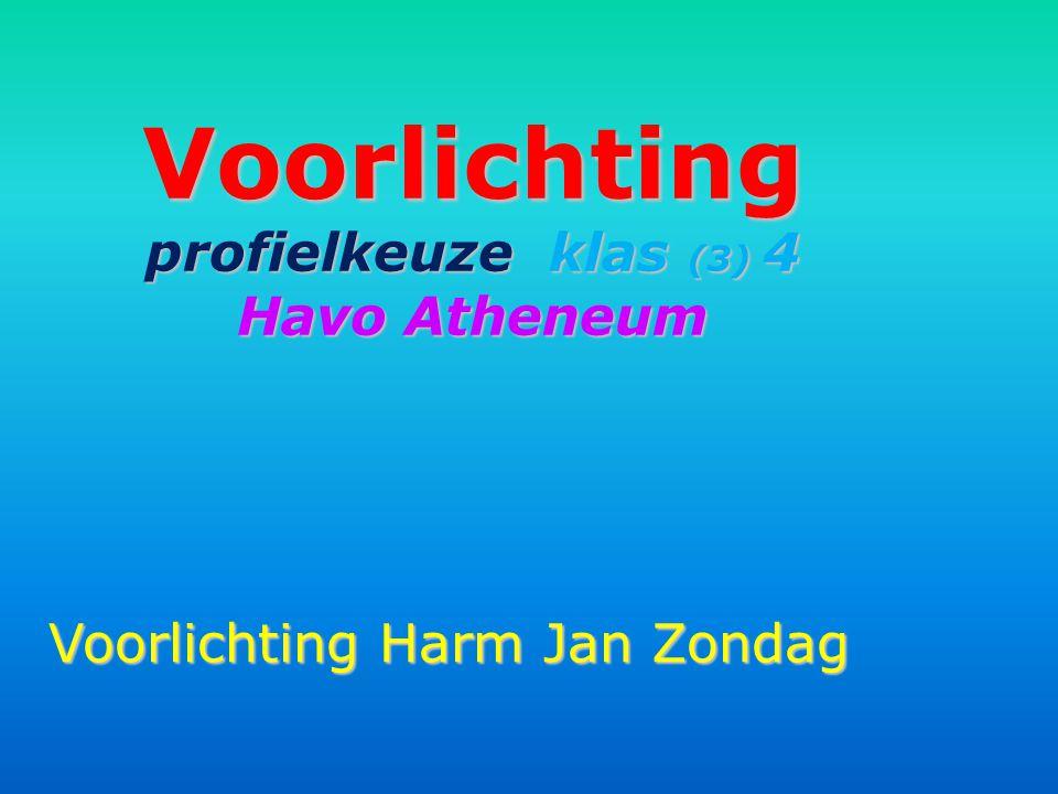 Voorlichting profielkeuze klas (3) 4 Havo Atheneum Voorlichting Harm Jan Zondag