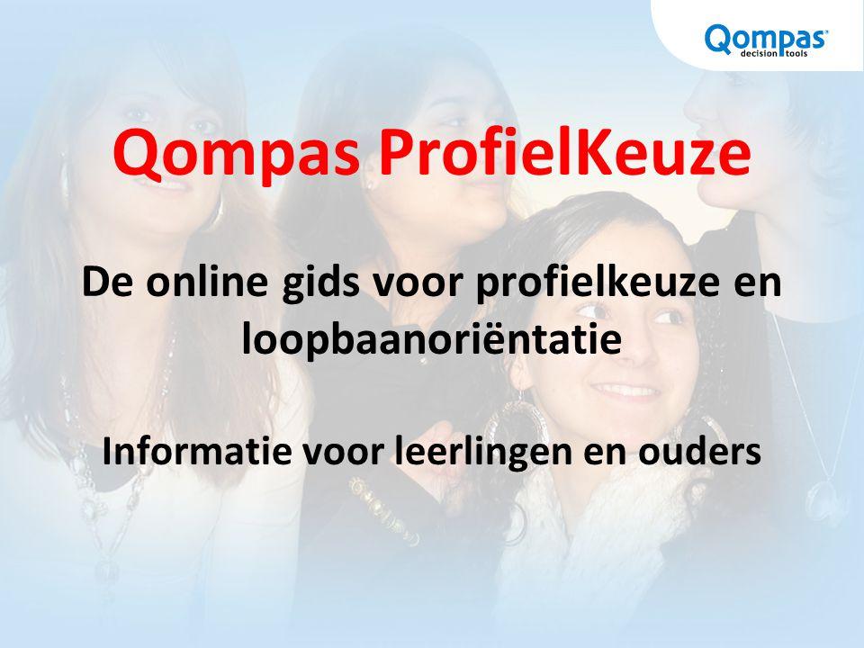 Qompas ProfielKeuze De online gids voor profielkeuze en loopbaanoriëntatie Informatie voor leerlingen en ouders