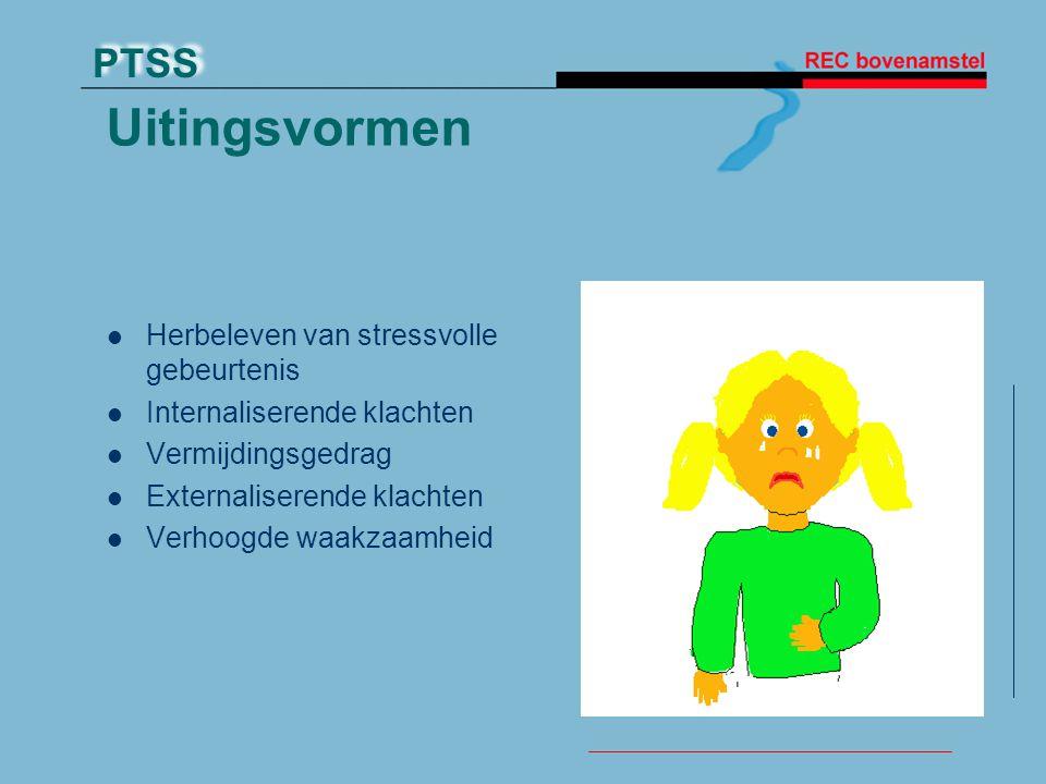 PTSS Uitingsvormen Herbeleven van stressvolle gebeurtenis Internaliserende klachten Vermijdingsgedrag Externaliserende klachten Verhoogde waakzaamheid