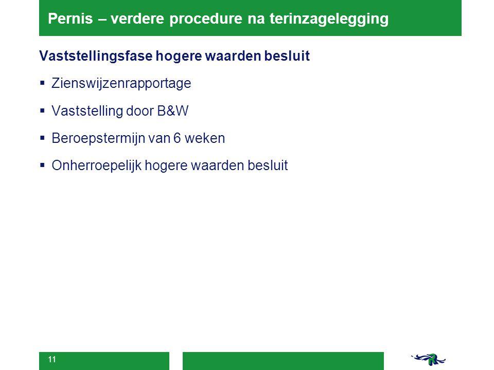 11 Pernis – verdere procedure na terinzagelegging Vaststellingsfase hogere waarden besluit  Zienswijzenrapportage  Vaststelling door B&W  Beroepste