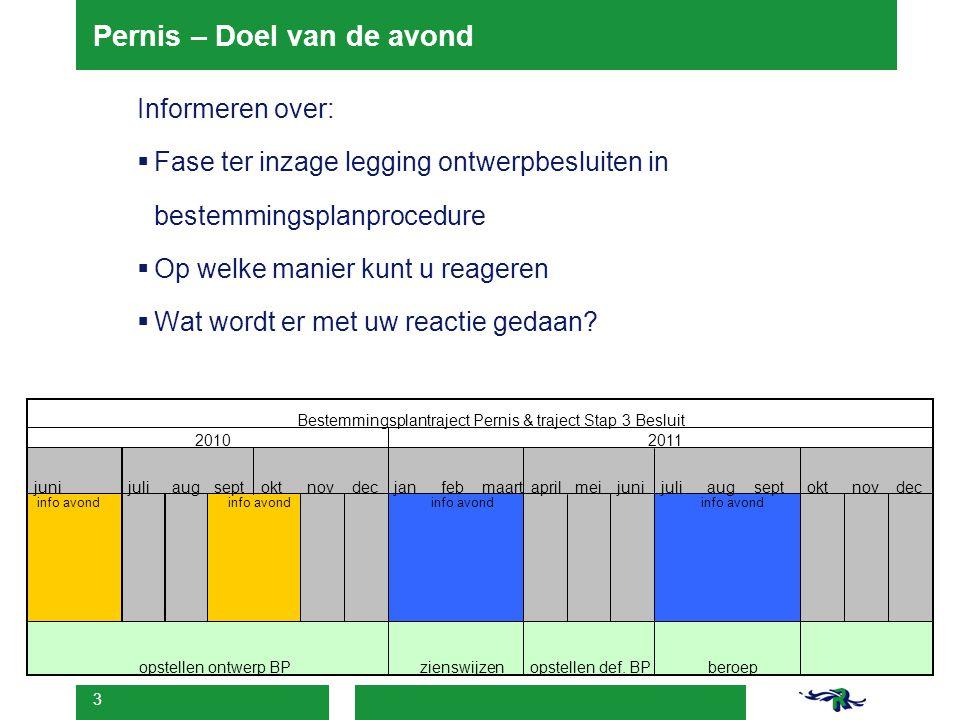 3 Pernis – Doel van de avond Informeren over:  Fase ter inzage legging ontwerpbesluiten in bestemmingsplanprocedure  Op welke manier kunt u reageren