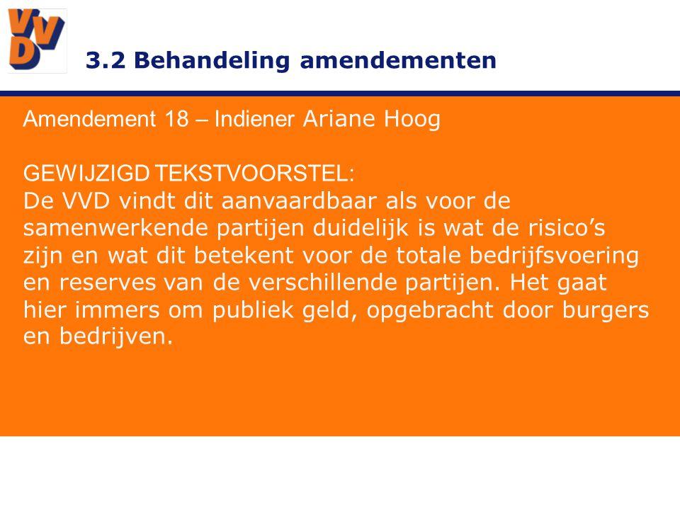 3.2 Behandeling amendementen Amendement 18 – Indiener Ariane Hoog GEWIJZIGD TEKSTVOORSTEL: De VVD vindt dit aanvaardbaar als voor de samenwerkende partijen duidelijk is wat de risico's zijn en wat dit betekent voor de totale bedrijfsvoering en reserves van de verschillende partijen.