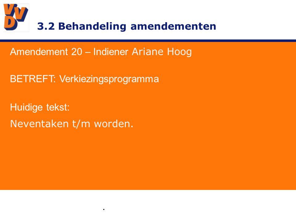 3.2 Behandeling amendementen. Amendement 20 – Indiener Ariane Hoog BETREFT: Verkiezingsprogramma Huidige tekst: Neventaken t/m worden.