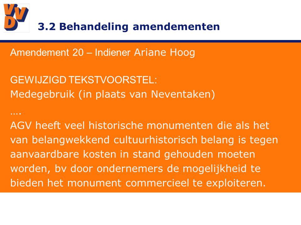 3.2 Behandeling amendementen Amendement 20 – Indiener Ariane Hoog GEWIJZIGD TEKSTVOORSTEL: Medegebruik (in plaats van Neventaken) …. AGV heeft veel hi