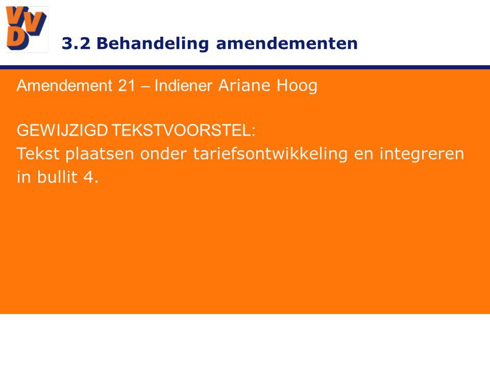 3.2 Behandeling amendementen Amendement 21 – Indiener Ariane Hoog GEWIJZIGD TEKSTVOORSTEL: Tekst plaatsen onder tariefsontwikkeling en integreren in bullit 4.