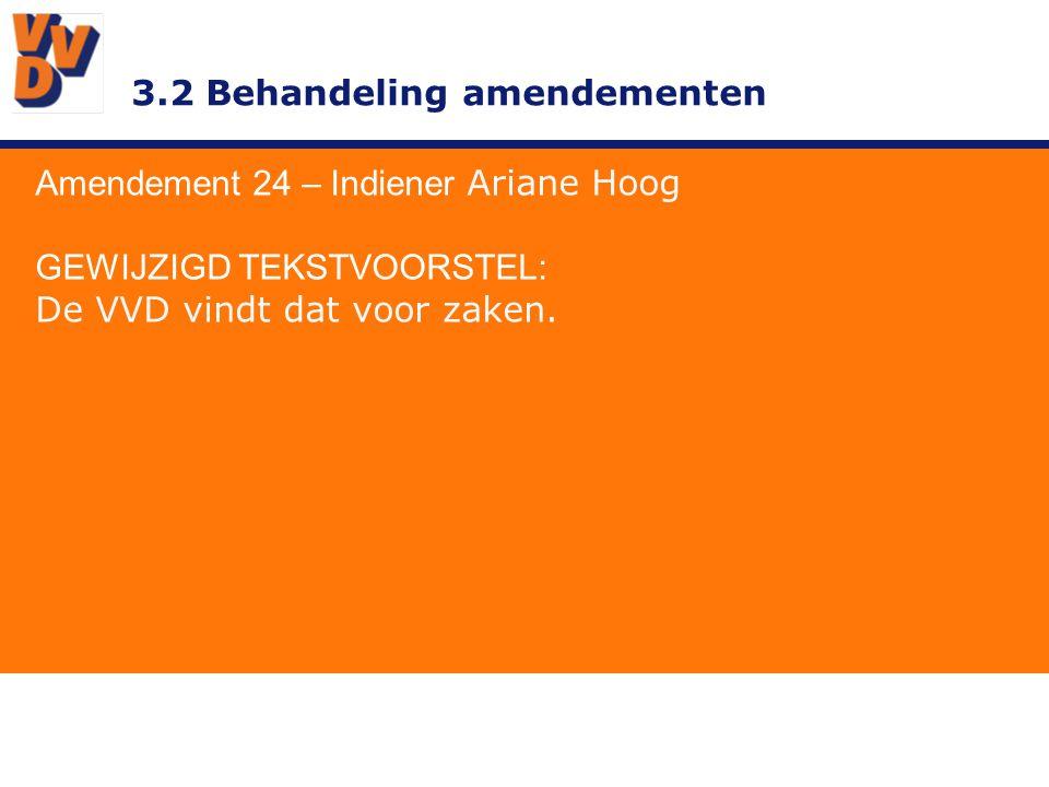 3.2 Behandeling amendementen Amendement 24 – Indiener Ariane Hoog GEWIJZIGD TEKSTVOORSTEL: De VVD vindt dat voor zaken.