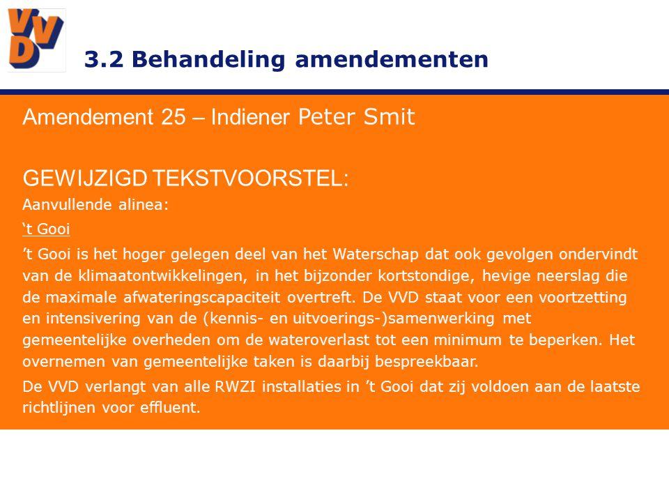 3.2 Behandeling amendementen Amendement 25 – Indiener Peter Smit GEWIJZIGD TEKSTVOORSTEL: Aanvullende alinea: 't Gooi 't Gooi is het hoger gelegen deel van het Waterschap dat ook gevolgen ondervindt van de klimaatontwikkelingen, in het bijzonder kortstondige, hevige neerslag die de maximale afwateringscapaciteit overtreft.