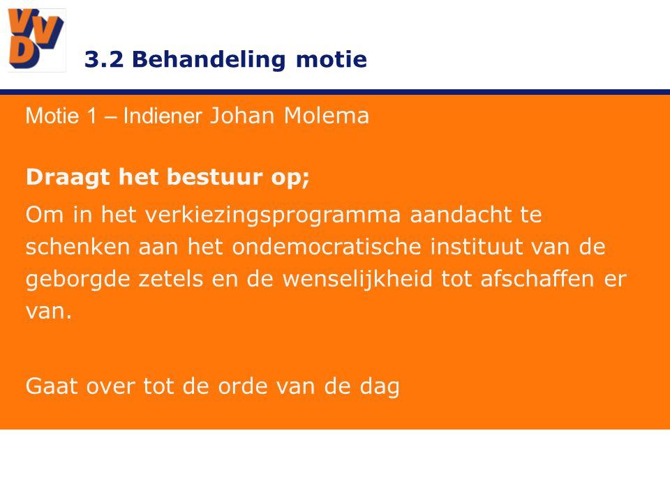 3.2 Behandeling motie Motie 1 – Indiener Johan Molema Draagt het bestuur op; Om in het verkiezingsprogramma aandacht te schenken aan het ondemocratische instituut van de geborgde zetels en de wenselijkheid tot afschaffen er van.