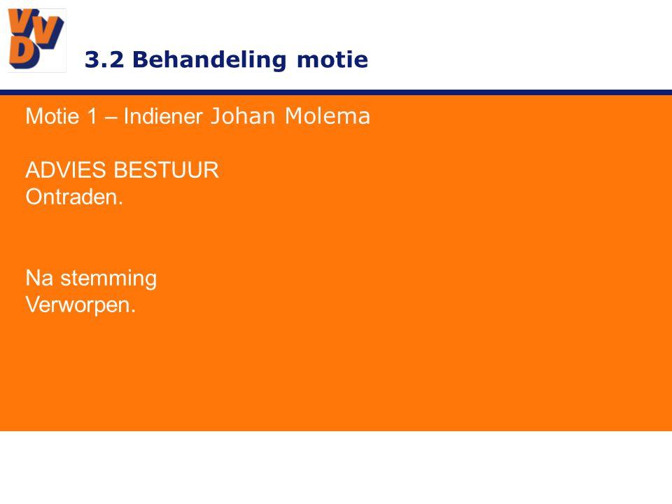 3.2 Behandeling motie Motie 1 – Indiener Johan Molema ADVIES BESTUUR Ontraden. Na stemming Verworpen.