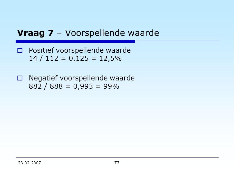 23-02-2007T7 Vraag 7 – Voorspellende waarde  Positief voorspellende waarde 14 / 112 = 0,125 = 12,5%  Negatief voorspellende waarde 882 / 888 = 0,993