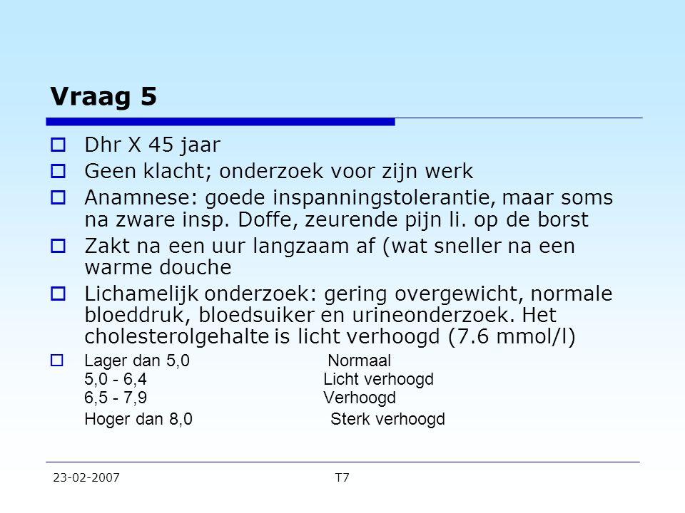 23-02-2007T7 Vraag 8  Patient van casus 2  Variant AVariant B  Uitgangskans  op rond van  leeftijd en geslacht 2 2  Kans na anamnese  en LO 18 2-3  Kans na positief  inspanningsonderzoek 62 12,5  Kans na negatief  inspanningsonderzoek 94 99 (op geen ziekte!)