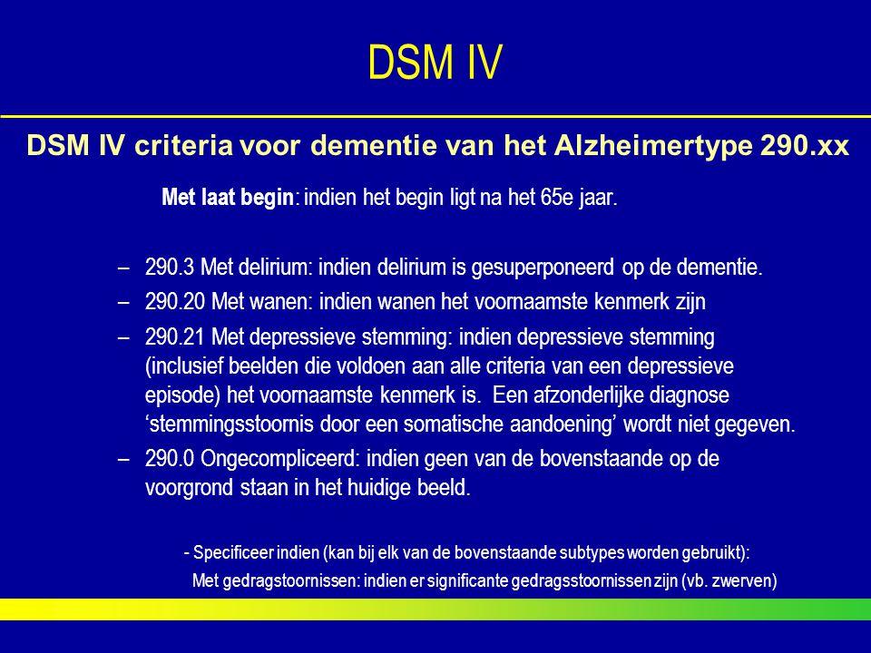 Met laat begin : indien het begin ligt na het 65e jaar. –290.3 Met delirium: indien delirium is gesuperponeerd op de dementie. –290.20 Met wanen: indi